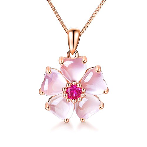 YOUMIYA Rose Gold Cherry Blossoms Necklace for Graduation Pink Beautiful Artificial Stone Crystal Necklace Best Gifts for Women Friend ()