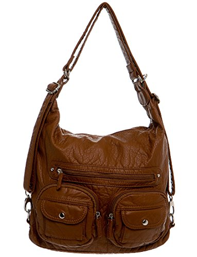 Chocolate Leather Zip Hobo Bag - 5