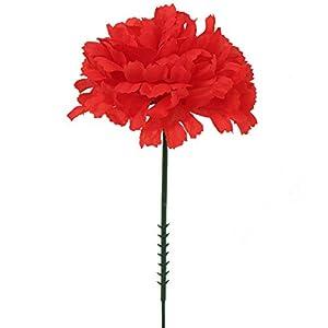 "Larksilk Red 3.5"" Silk Carnations with 5"" Stem Pick | Artificial Flowers for Wedding Decorations, DIY Decor, 100 Count Bulk 15"