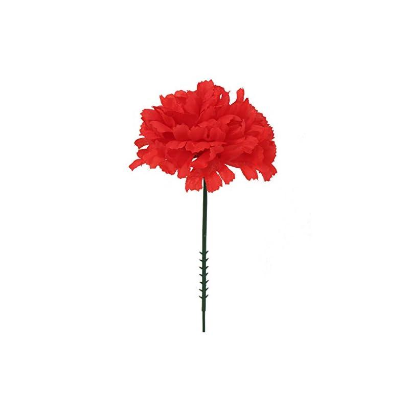 "silk flower arrangements larksilk red silk carnation picks, artificial flowers for weddings, decorations, diy decor, 100 count bulk, 3.5"" carnation heads with 5"" stems"