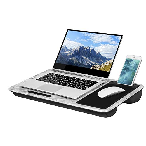 LapGear Home Office Lap Desk with mouse pad and phone holder - White Marble - Fits up to 15.6 Inch laptops - Style No. 91501