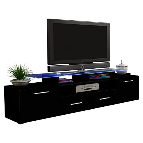 MEBLE FURNITURE & RUGS TV Stand Vegas Matte Body High Gloss Doors Modern TV Stand (black) (Gloss High Modern)