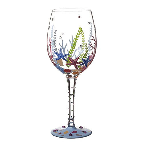 V-More Wine Glass Hand-Painted Starfish and Aqua Plants Decorated with Colorful Rhinestones for Gift Entertaining 20 oz (Set of 1)