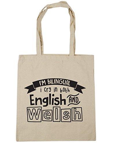 HippoWarehouse I 'm bilingüe I Cry en inglés y galés bolsa de la compra bolsa de playa 42cm x38cm, 10litros, blanco (blanco) - 21414-TOTE-White natural