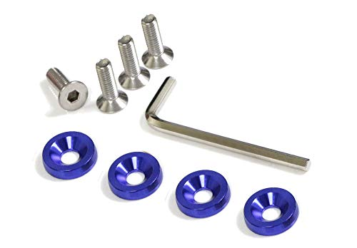 iJDMTOY (4 JDM Racing Style Blue Aluminum Washers Bolts Kit for Car License Plate Frame, Fender, Bumper, Engine Bay, etc