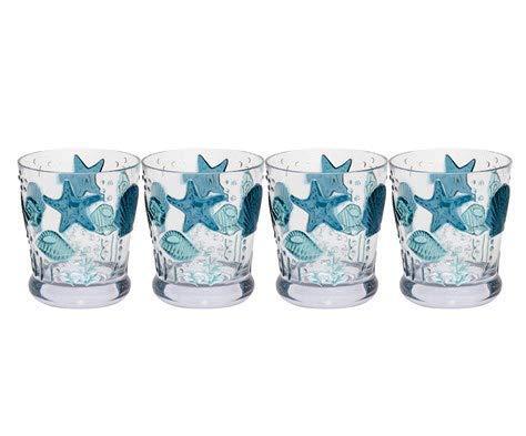 Northeast Home Goods Coastal Seashells Acrylic DOF Double Old-Fashioned Glasses, Set of 4