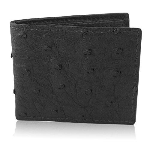 Genuine Skin Leather Bifold Handmade Ostrich Ostrich Black Skin Genuine Wallet r6gxnqvrPw