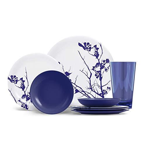 - Attractive Dogwood Floral Pattern 16-Piece Long Lasting Durable Melamine Dinnerware Set (COBALT BLUE)