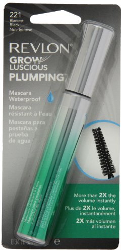 Revlon Grow Luscious Plumping Mascara Waterproof, Blackest Black WP, 0.34 Fluid Ounce