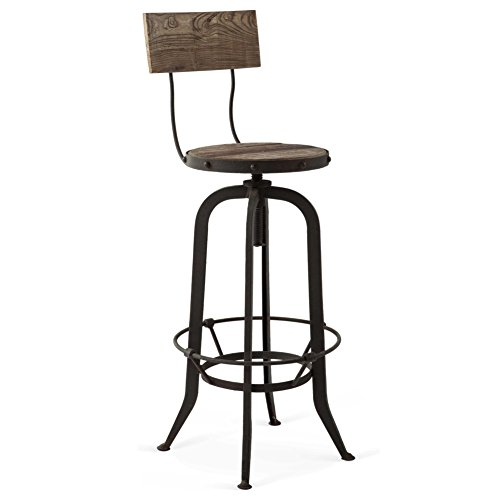Kathy Kuo Home Alvar Industrial Loft Reclaimed Oak Iron Vintage Barstool