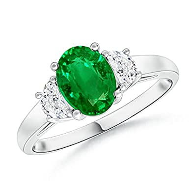 Angara Emerald Ring - GIA Certified Oval Emerald Ring with Half Moon Diamonds m6VTjDiG