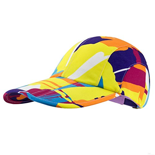 Camo Hat,Outdoor Cap,UPF50+ Protect Camouflage Hat Sun Hat Adjustable Unisex Lightweight Foldable Sports Cap Pocket Cap Fishing Hat Youth Hat Portable Baseball Cap for Men Women Golden Yellow OE91
