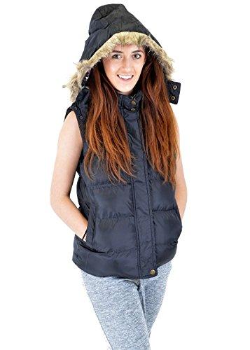 Womens Winter Hooded Padded Gilet Faux Fur Body Warmer Coat Navy