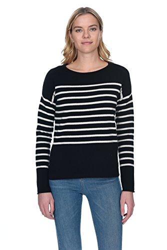 - State Cashmere Women's 100% Pure Cashmere Striped Crewneck Sweater