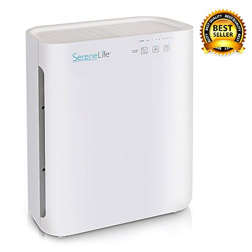 SereneLife HEPA Home White Purifying w/UV-C Sanitizer, Carbon, Pre Filters-Germ, Allergen Dust, Smoke Remover for Pure, Cleaner Fresh Room Air - Safe for Kids