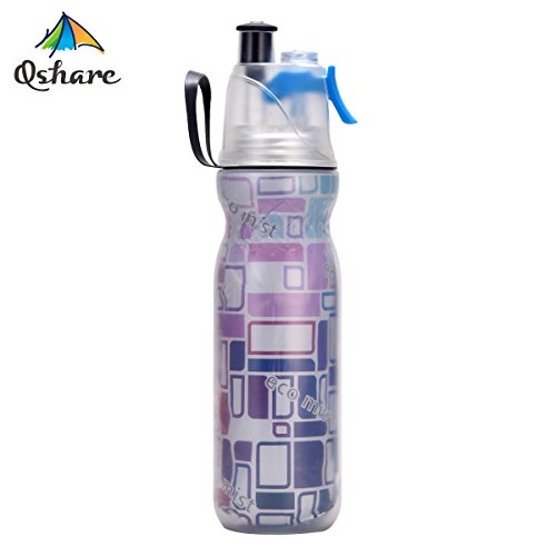 Qshare Misting Water Bottle, Insulated Bottle with Spray Mist for Outdoor Sport Hydration and Cooling Down, FDA Approved BPA-Free Mist Water Bottle with Unique Mist Lock Design