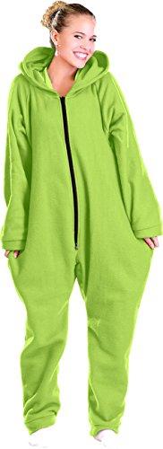 PEARL basic Fleece Overall: Jumpsuit aus flauschigem Fleece, grün, Größe L (Jumpsuit mit Kapuze)