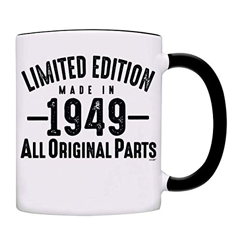 Mug 1949-70th Birthday Gifts Limited Edition Made In 1949 All Original Parts Coffee Mug-1949-0070-Black