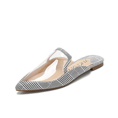 Mackin J 327-2 Womens Classic Pointed Toe Clear PVC Flat (7.5, Plaid) ()