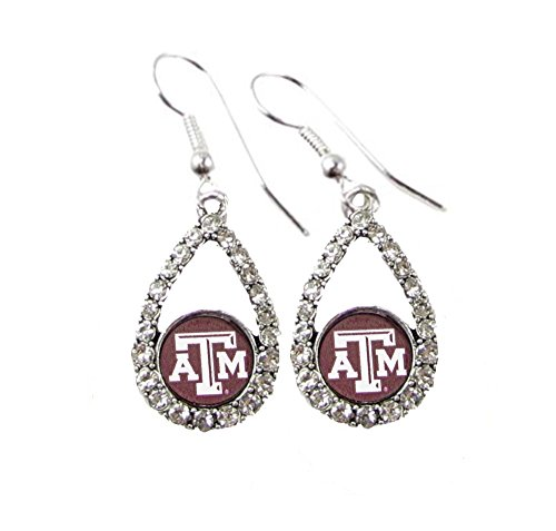 M Aggies 1 Charm - Texas A&M Aggies Maroon Teardrop Clear Crystal Silver Earrings Jewelry TAMU