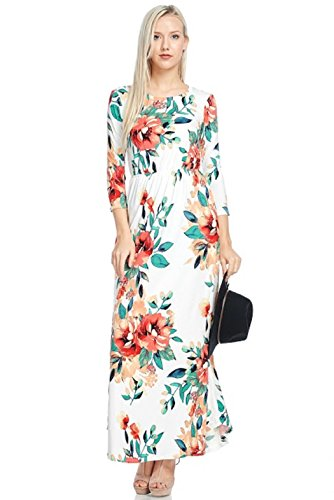 Pockets Sleeve With Reborn Dress J Maxi Floral Ivory Long Ux4wqwTz0