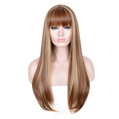 Strong Female Halloween Costumes (SiYi Long Light Brown Wig with Bangs Blonde Highlights Straight Synthetic Full Wig Heat Resistant Costume Wig for Women Girl)