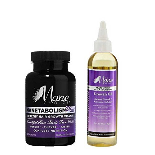 THE MANE CHOICE MANETABOLISM PLUS Healthy Hair Growth Vitamins (60 Capsules) & Hair Growth Oil (4 Ounces / 118 Milliliters) - The perfect Combo For Longer, Thicker and Healthier Hair