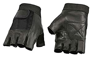 Milwaukee Leather Men's Leather Mesh Combo Fingerless Gloves, Black SH217 (XL)