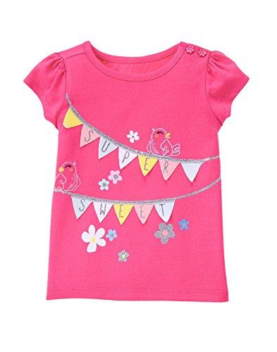 Gymboree Baby Toddler Girls' Super Sweet Bird Graphic Tee, Babydoll Pink, 4T