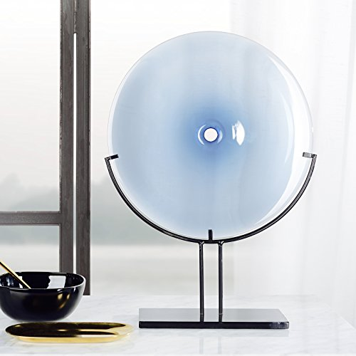 CASAMOTION Home Décor Accent Hand Blown Art Glass Plate, Glass Charger with Metal Stand, Grey Blue, Large