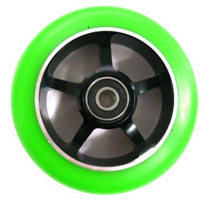Ten Eighty 5 Spoke 100mm Stunt Scooter Wheel - Black Alloy Core & Green Tyre