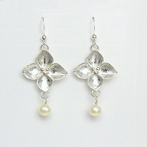 Celtic Qua trefoil Flower Earrings -Symbolizing Good Luck, Good Tidings and Good Cheer-Silver Buds in the center are for Peace, Love and Joy- Handcrafted Sterling Silver Made in USA