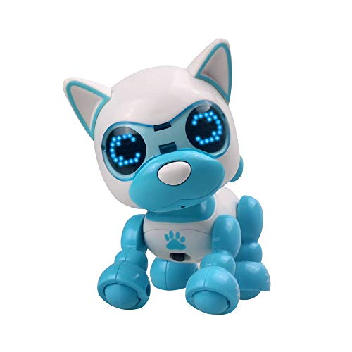 RC Smart Dog,Miklan Cute Smart Puppy Robotic Dog Robot Puppy Toys LED Eyes Sound Recording Sing Sleep Toy for Kids Boys Girls (Blue)