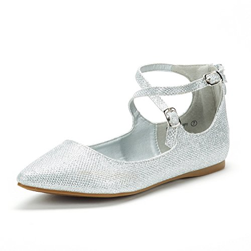 DREAM PAIRS Women's Sole-Strappy Silver Glitter Ankle Straps Flats Shoes - 12 M US