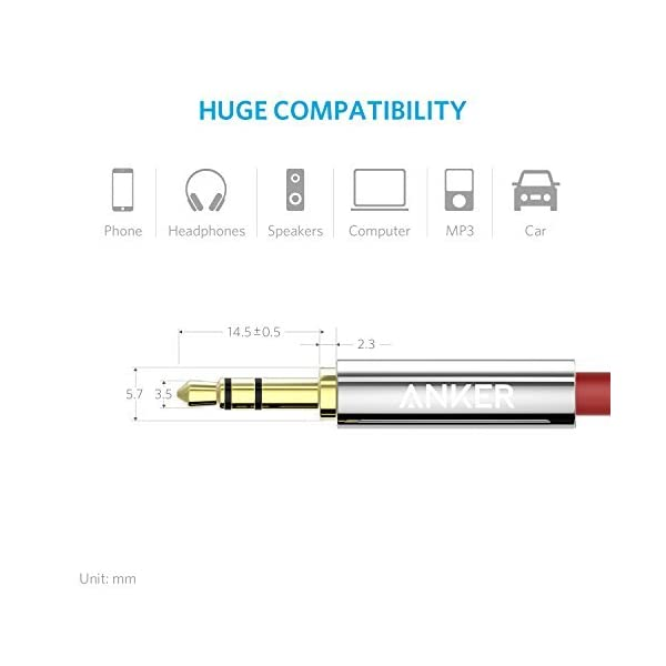 Anker 35mm Nylon Braided Auxiliary Audio Cable 4ft 12m Tangle Free AUX Cable For Headphones IPods IPhones IPads Home Car Stereos And More Red