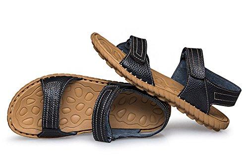 Insun Men's Leather Stitch Velcro Strap Sandal Black yU0f4buBd