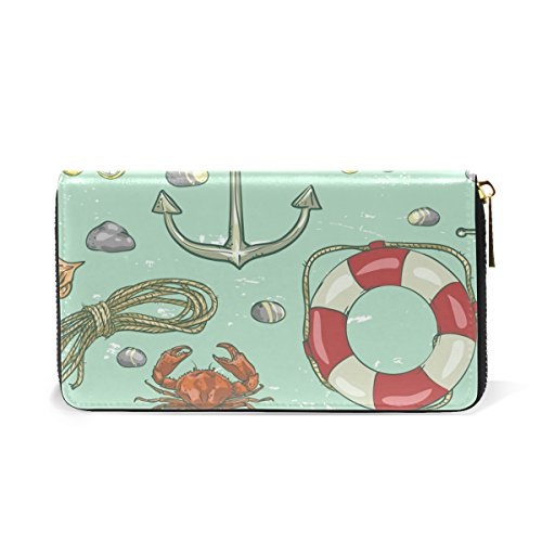 Around Zip Purses Organizer Anchor TIZORAX Wallet Sea Handbags Marine And Womens Clutch 7qzwxTwXv