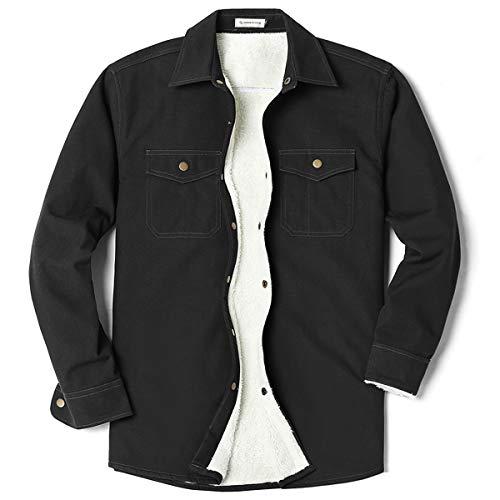 (Men's Canvas Long Sleeve Fleece-Lined Two Pocket Shirt Jacket Black X-Large)