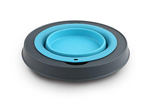 Dexas Popware for Pets Single Elevated Pet Feeder, Small, Gray/Blue