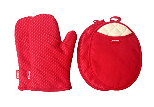 Pot Holders and Oven Mitts/Gloves With Silicone Printed - 2 Hot Pads and 2 Potholders Set,4-Piece Heat Resistant Kitchen Linens Set for Cooking,Baking,Grilling,Barbecue,Red,Honla