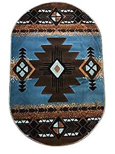 Concord Global Trading Southwest Oval Native American Area Rug Blue & Brown Design C318 (3 Feet X 4 Feet 7 Inch)