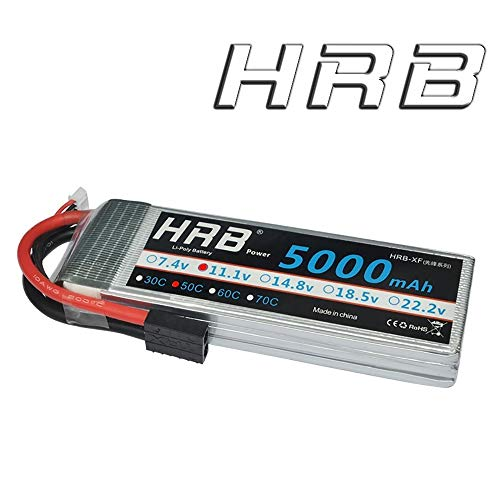 HRB 11.1V 5000mAh 3S 50C-100C LiPo Battery with Traxxas TRX Plug for RC DJI F450 Quadcopter RC Helicopter Airplane Hobby Drone and FPV (6.10 x 1.89 x 0.91 Inch)