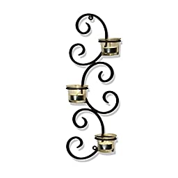 Adeco Brown Iron Vertical Wall Hanging Accents Candle Holder Sconce, Auspicious Clouds Scrolls, Holds 3 Pillar Candle each (Set of Two)