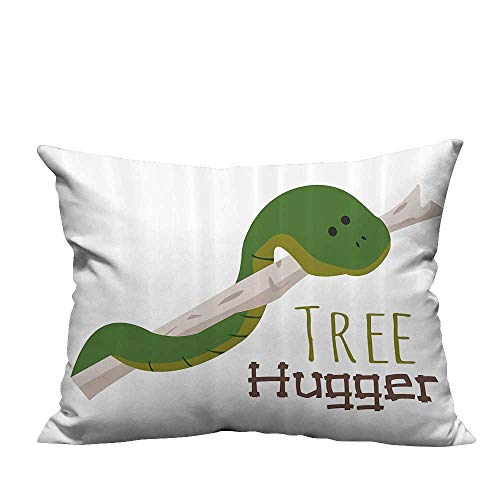 YouXianHome Super Soft Pillowcase Cute Carto Snake Hanging from Tree Hugger Love Mascot Humor Reptiles Comic Home Resists Wrinkles(Double-Sided Printing) 19.5x26 inch ()