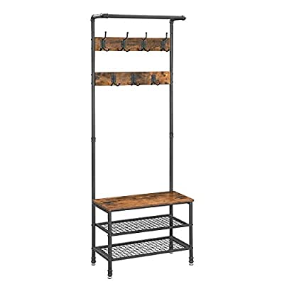 "VASAGLE URBENCE Hall Tree, Coat Rack Stand with Bench, Shoe Rack with 2 Mesh Shelves, Hallway, Living Room, Steel, Easy Assembly, Industrial Design, Rustic Brown UHSR37BX - OPPOSITES ATTRACT: Steel and engineered wood, rustic and industrial design, coat stand and shoe rack—this 26""L x 12.8""W x 72""H hall tree is full of contrasts and yet ultimately forms a perfect unit STABILITY AT ITS BEST: We all know those wobbly coat racks that collapse when a coat is hung up. Thanks to the sturdy steel tubes, this coat rack always stands like a rock EVERYTHING ON THE HOOK: Your appointment starts in 20 minutes! It's a good thing that your jacket is hanging on one of the 7 hooks of this coat rack and your sneakers are standing on one of the two mesh shelves. Sit on the bench and quickly put on your shoes! - hall-trees, entryway-furniture-decor, entryway-laundry-room - 41O4xUp41jL. SS400  -"