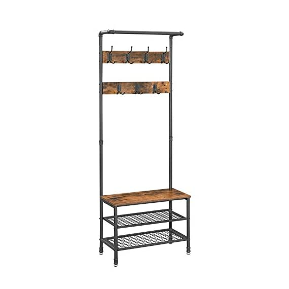 """VASAGLE URBENCE Hall Tree, Coat Rack Stand with Bench, Shoe Rack with 2 Mesh Shelves, Hallway, Living Room, Steel, Easy Assembly, Industrial Design, Rustic Brown UHSR37BX - OPPOSITES ATTRACT: Steel and engineered wood, rustic and industrial design, coat stand and shoe rack—this 26""""L x 12.8""""W x 72""""H hall tree is full of contrasts and yet ultimately forms a perfect unit STABILITY AT ITS BEST: We all know those wobbly coat racks that collapse when a coat is hung up. Thanks to the sturdy steel tubes, this coat rack always stands like a rock EVERYTHING ON THE HOOK: Your appointment starts in 20 minutes! It's a good thing that your jacket is hanging on one of the 7 hooks of this coat rack and your sneakers are standing on one of the two mesh shelves. Sit on the bench and quickly put on your shoes! - hall-trees, entryway-furniture-decor, entryway-laundry-room - 41O4xUp41jL. SS570  -"""