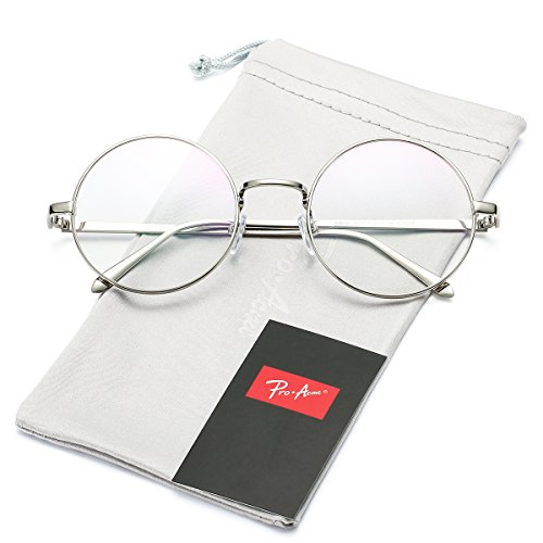 Pro Acme Retro Round Metal Frame Clear Lens Glasses Non-Prescription(Silver Frame/Clear Lens)