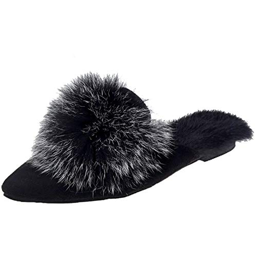 Louis Vuitton Zippy Organizer - This is not a harm.-Slipper Pointed Toe F-ur Slippers Flat Heels Platform Sandals,Black,6.5