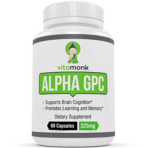 Alpha GPC Capsules by Vitamonk - The #1 Bioavailable Choline Supplement To Support Brain Cognition - Made in USA - 60 Alpha-GPC 325mg Capsules - NO Artificial Fillers