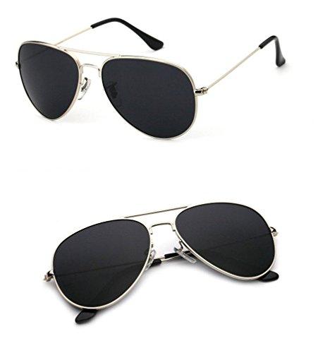 Las de ceniza Gafas Sol Gafas Marco conducen de Sol los de de Gafas Las de Sol de Ojos los vidrios HUHUXIAOWU negro de plata pq8TgwZnxf